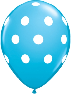 "Robin's Egg Blue Polka Dot 11"" Latex Balloons 25pk"