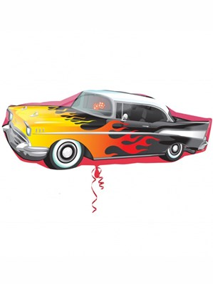 "Rock & Roll Flaming Car SuperShape Foil Balloon 35"""