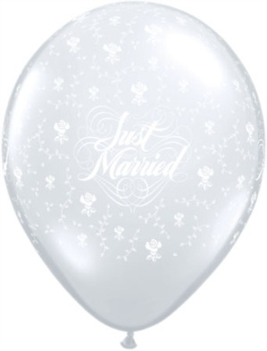 """Diamond Clear Just Married Flowers 11"""" Latex Balloons 25pk"""