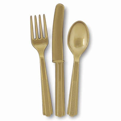 Gold Assorted Plastic Cutlery 18pk