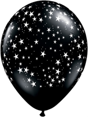 "Onyx Black Stars 11"" Latex Balloons 25pk"