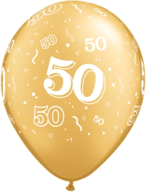 "Gold 50 Printed Latex 11"" Balloons 25pk"