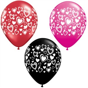 "11"" Red, Pink and Black Balloons With Love Hearts - 25pk"