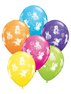 """11"""" Assorted Party Bears Latex Balloons - 25pk"""
