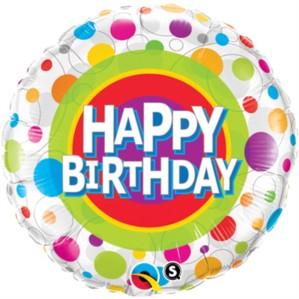 "18"" Happy Birthday Spots Foil Balloon"