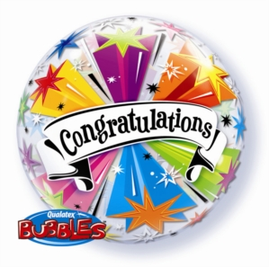 """Congratulations"" Banner Blast Bubble Balloon 22"""