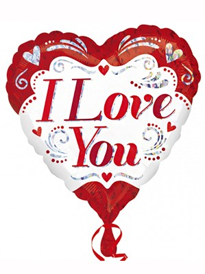 """Valentine I Love You Holographic 18"""" Heart Foil Balloon"""