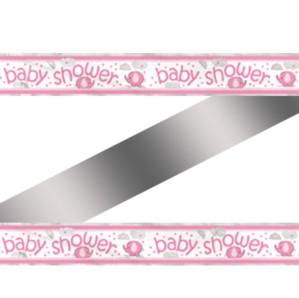 12ft Pink Umbrellaphants Baby Shower Foil Banner