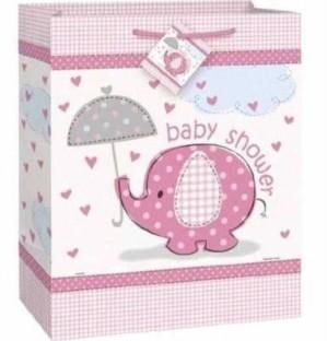Umbrellaphants Pink Baby Shower Gift Bag