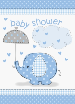 8 Umbrellaphants Blue Baby Shower Invitations