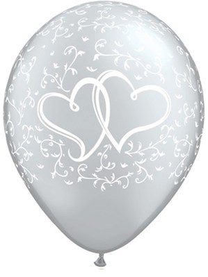 "Silver Entwined Hearts 11"" Latex Balloons 6pk"