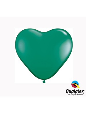 "6"" Emerald Green Latex Heart Balloons 100pk"