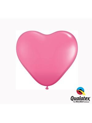 "6"" Rose Latex Heart Balloons 100pk"