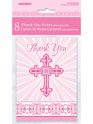 Pink Radiant Cross Thank You Notes & Envelopes 8pk
