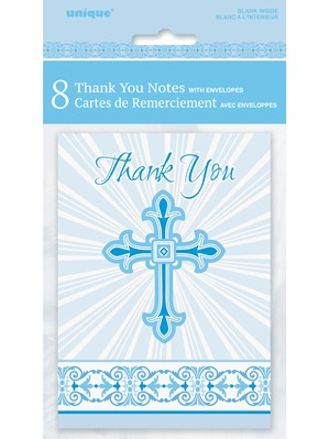 Blue Radiant Cross Thank You Cards & Envelopes 8pk