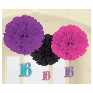 Sweet Sixteen Pom Pom Decorations 3pk