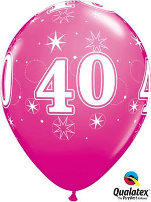 "Age 40 Sparkle Wild Berry 11"" Latex Balloons 25pk"