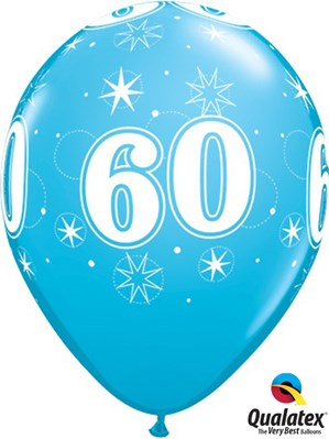 "Age 60 Sparkle Robin's Egg Blue 11"" Latex Balloons 25pk"