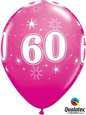 "Age 60 Sparkle Wild Berry 11"" Latex Balloons 25pk"