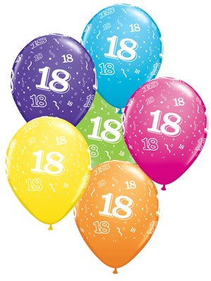 "Age 18 Latex 11"" Balloons 6pk"