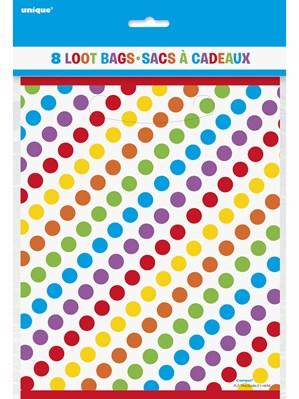 Colourful Polka Dot Party Bags 8pk