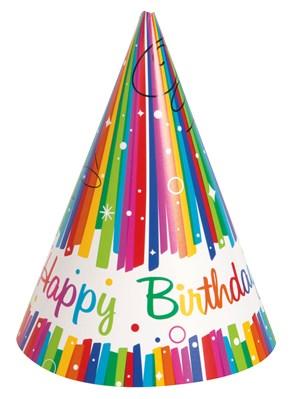 Rainbow Ribbons Happy Birthday Party Hats 8pk