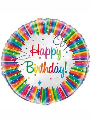 "Rainbow Ribbons Happy Birthday 18"" Foil Balloon"