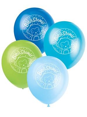 "Blue Baby Monkey Baby Shower 12"" Latex Balloons 8pk"
