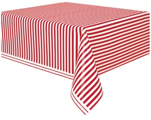 Red Stripes Rectangular Plastic Tablecover