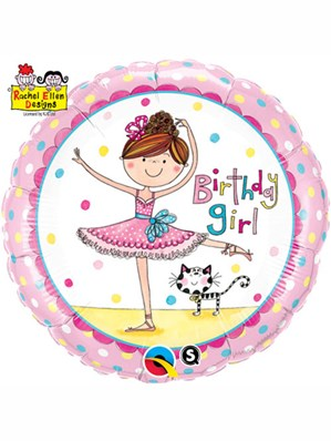 """Rachel Ellen Birthday Ballerina 18"""" Foil Balloon"""