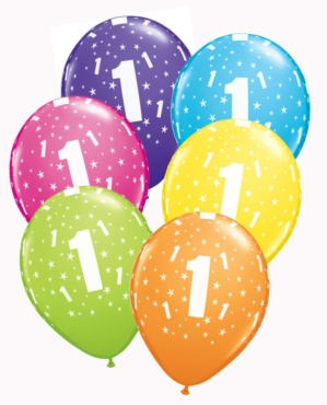 "1st Birthday Assorted Latex 11"" Balloons 25pk"