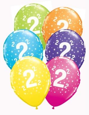 "Age 2 Asst. Colour 11"" Latex Balloons 6pk"