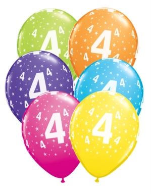 "Age 4 Stars Around Latex 11"" Balloons 6pk"