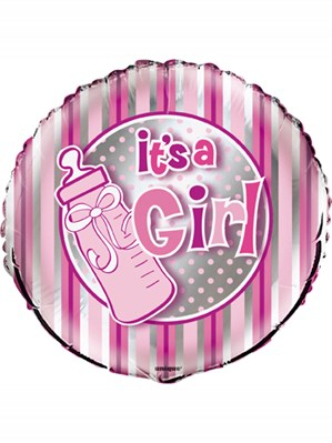 "Baby Shower It's a Girl 18"" Stripe Foil Balloon"
