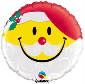 """Christmas Santa Smiley Face 18"""" Foil Balloon"""