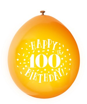 Assorted Colour 100th Birthday Latex Balloons 10pk