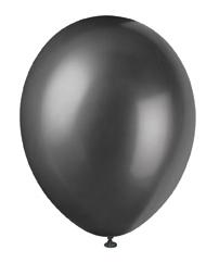 "12"" Ink Black Pearlized Latex Balloons - 50pk"