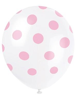 """Light Pink Polka Dots 12"""" Latex Balloons 6pk"""
