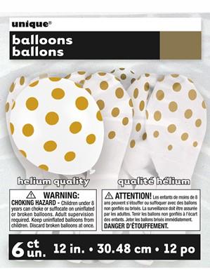 """Gold Polka Dots 12"""" Latex Balloons 6pk"""