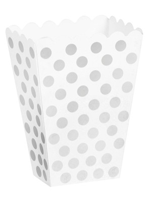 Silver Polka Dots Treat Boxes 8pk