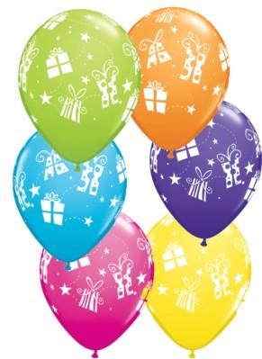"Presents & Stars 11"" Asst. Balloons 25pk"
