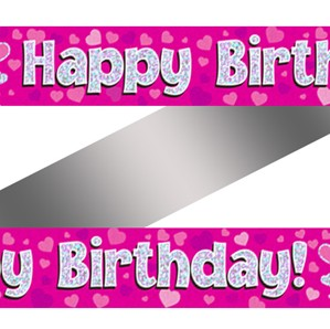 Pink Holographic Happy Birthday Banner