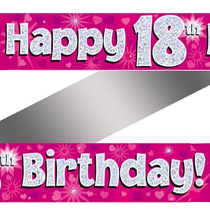 18th Birthday Pink Holographic Banner