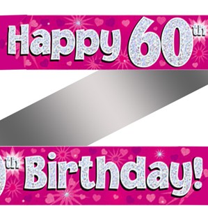 60th Birthday Pink Holographic Banner