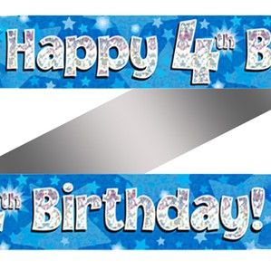 4th Birthday Blue Holographic Banner