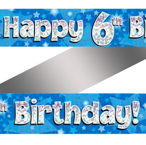6th Birthday Blue Holographic Banner
