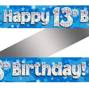 13th Birthday Blue Holographic Banner