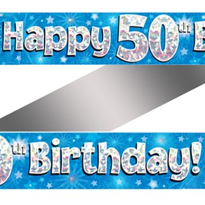 50th Birthday Blue Holographic Banner