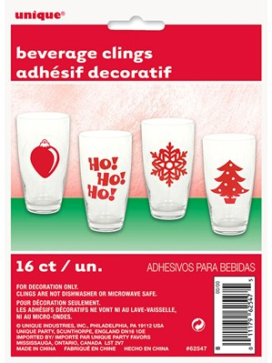 Christmas Beverage Clings 16pk
