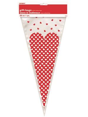 Valentine's Hearts Cone Cello Bags 20pk